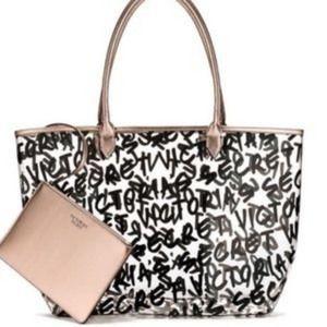 Victoria's Secret Clear Graffiti Large Tote Bag